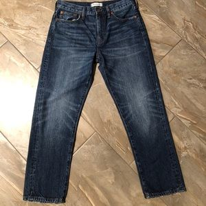 Madewell 28 straight leg cropped distressed jeans